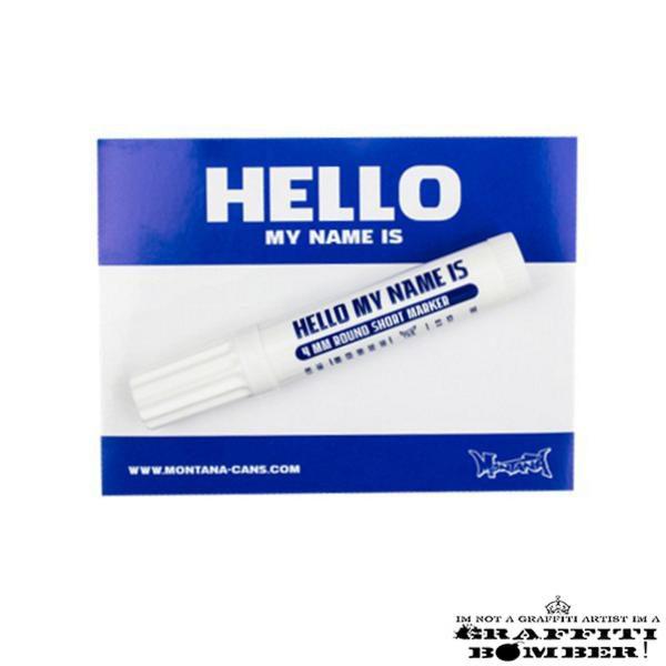 """Stickers """"Hello My Name Is"""" 9×12 cm Blauw met marker"""